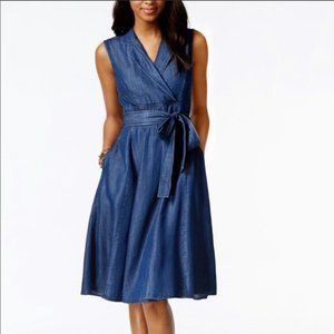 Tommy Hilfiger Chambray Fit and Flare Dress Sz 10